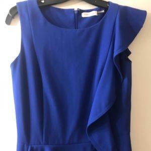 Royal blue dress with ruffle